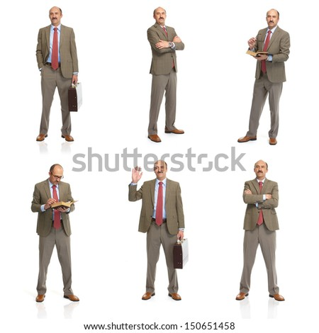 The businessman on a white background. The collage - stock photo