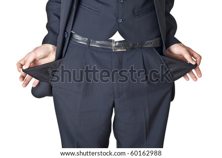 The businessman shows that in pockets is empty