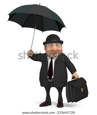 the businessman with a portfolio and an umbrella goes to work/3d business gentleman - stock photo