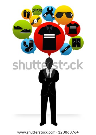 The Businessman With Group of Men Fashion Shopping Icon on Head Isolated on White Background - stock photo