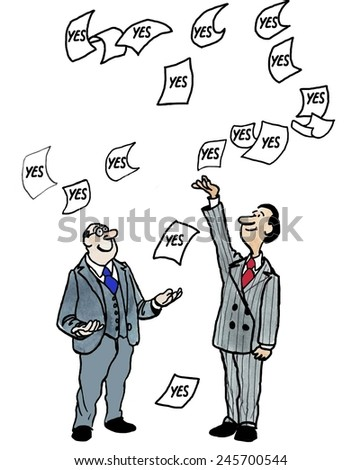 The businessmen had received yes (approval) on their request and were ecstatic. - stock photo