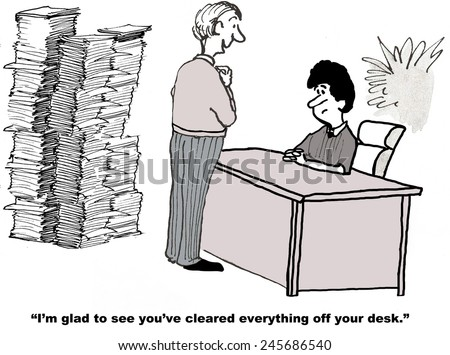 The businesswoman is overworked and has stacks of paperwork to do, but her boss feels better when her desk is clear. - stock photo
