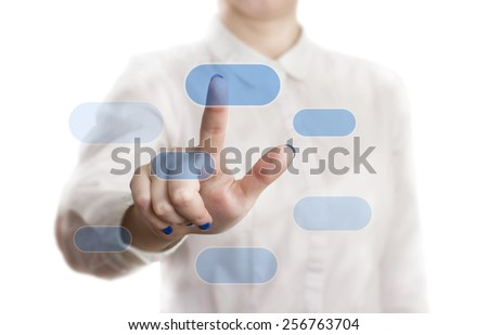 the businesswoman press the button on the touchscreen. - stock photo