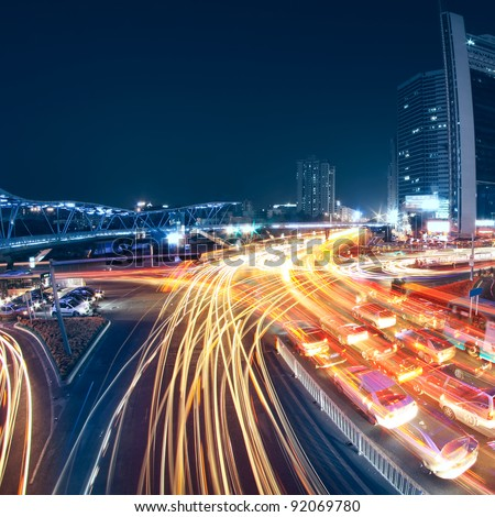 the busy city traffic in China - stock photo