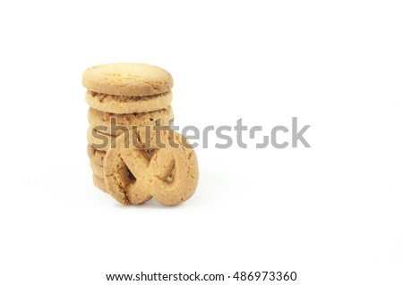 The butter and cream cookies on white background.