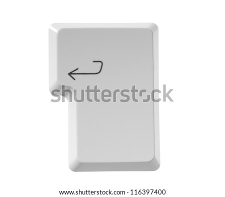 The button ENTER  from a white computer keyboard - stock photo