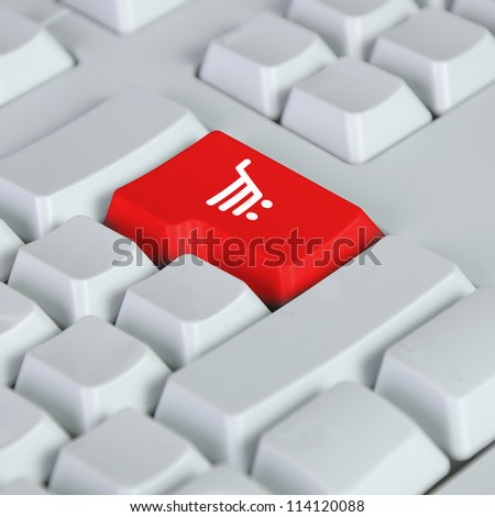 The button for purchases on the keyboard. Online shop. - stock photo