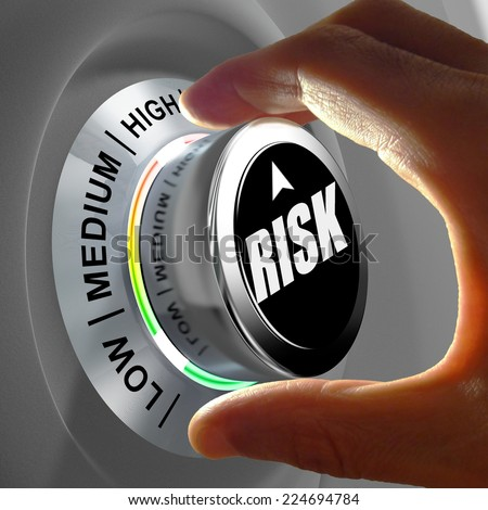 The button shows three levels of risk management. Concept illustration. - stock photo