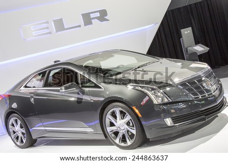 The 2015 Cadillac ELR Electric Hybrid Coupe at The North American International Auto Show January 13, 2015 in Detroit, Michigan.