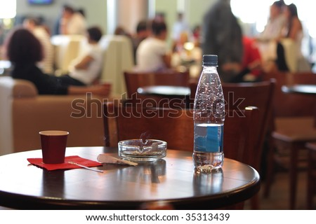 The cafe in a airport in the morning - stock photo
