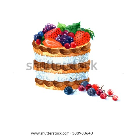 the cake round shape dessert watercolor hand drawn isolated on the white background