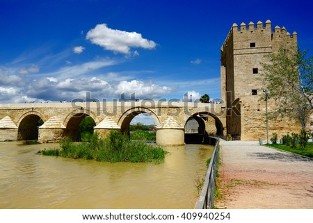 The Calahorra Tower. The Roman Bridge and Guadalquivir river, Cordoba, Andalusia, Spain