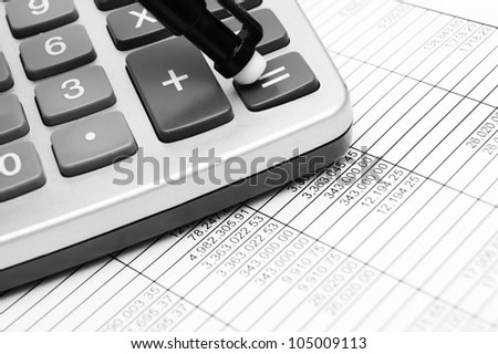 The calculator and documents .