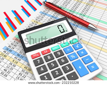 The calculator and pen lies on finance balance tables and graph chart data. A business planning, analyzing and accounting concept - stock photo
