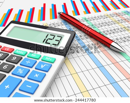 The calculator lies on finance balance tables and graph chart data. A business planning, analyzing and accounting concept