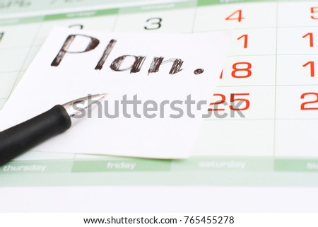the calendar and the plan for the new year in December