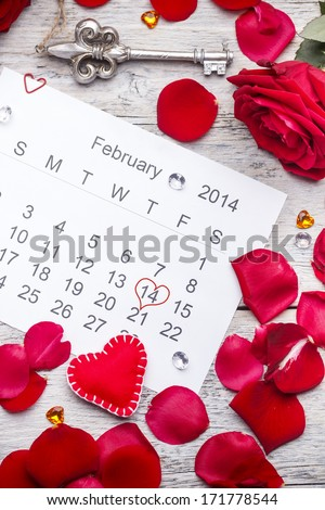 The calendar date of the 14th February, St Valentine's day  - stock photo
