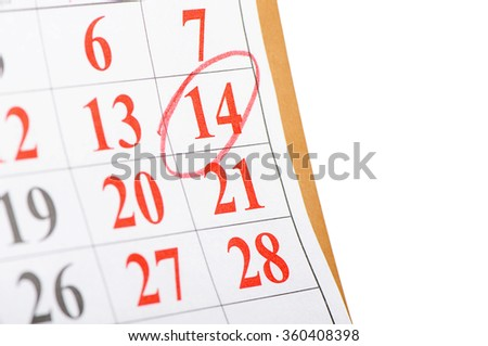 The calendar with St. Valentine date isolated  - stock photo