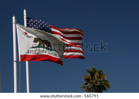 The California and American flags are flying.