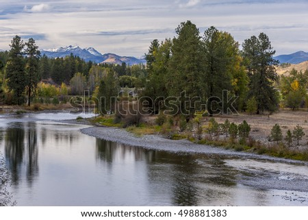 The calm section of the Methow River near Winthrop, Washington.