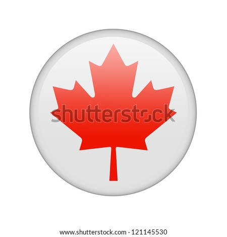 The Canadian flag in the form of a glossy icon. - stock photo