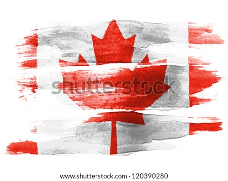 The Canadian flag painted on  white paper with watercolor