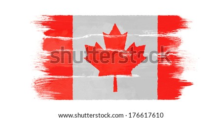 The Canadian flag painted on white paper with watercolor - stock photo