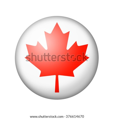 The Canadian flag. Round matte icon. Isolated on white background. - stock photo