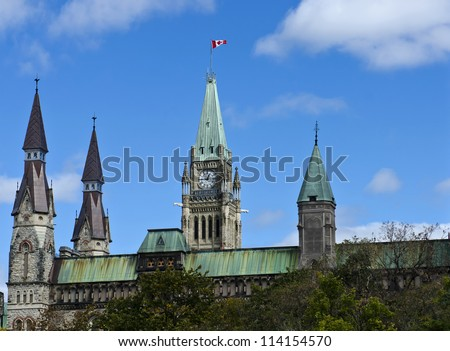 The canadian Parliament Centre and West Block towers in Ottawa, Canada.