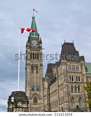 The canadian Parliament Centre Block building with canada flags in Ottawa.