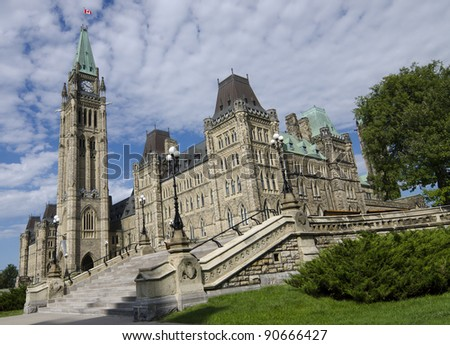 The Canadian Parliament Centre Block with eastern stairway during summer on a sunny day.