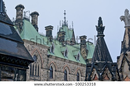 The canadian Parliament East block with all its intricate gothic ironwork design. - stock photo