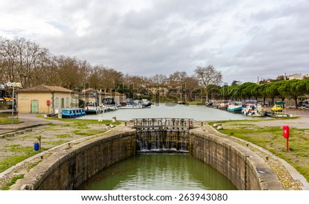 The Canal du Midi in Carcassonne - France - stock photo