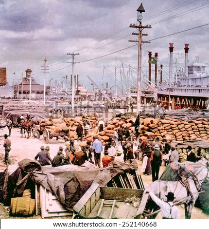 The Canal Street levee on the Mississippi River in New Orleans, photochrom by William Henry Jackson, 1900 - stock photo