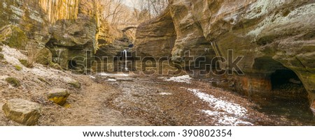 The canyon and waterfall in the Lower Dells, Matthiessen State Park, Utica, Illinois. - stock photo