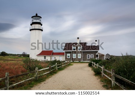 The Cape Cod Highland Lighthouse On A Very Windy And Cold Autumn Morning, Part Of The Cape Cod National Seashore, Massachusetts, USA - stock photo