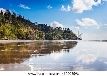 The Cape Disappointment end of Long Beach, Washington - stock photo