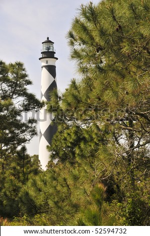 The Cape Lookout Lighthouse on the North Carolina Coast - stock photo