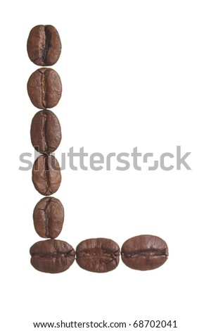 The capital letter L spelled in coffee beans, isolated on a white background. Macro resolution.