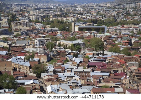 The capital of Georgia Tbilisi view from above - stock photo