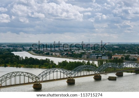 The capital of Latvia, Riga, with a bird's-eye view - stock photo