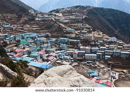 The capital of the sherpas - Namche Bazar, Nepal - stock photo