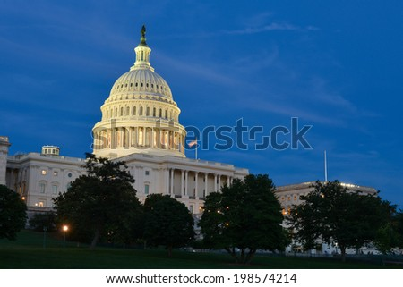 The Capitol  at night - Washington D.C. USA - stock photo