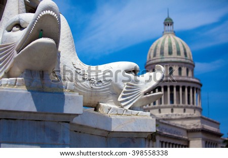 The Capitol building and fountain of India,  Havana - stock photo