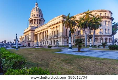 The Capitol building at morning with sunlight,  Havana