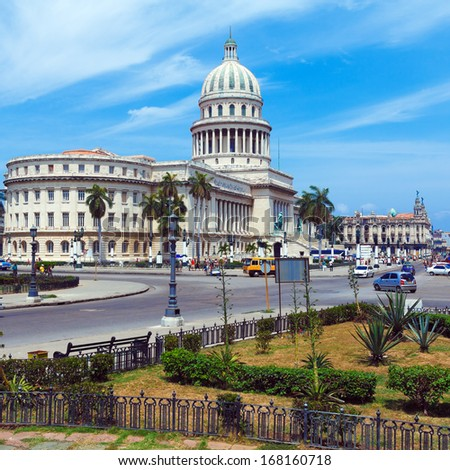 The Capitol building at Morning with Urban Traffic,  Havana