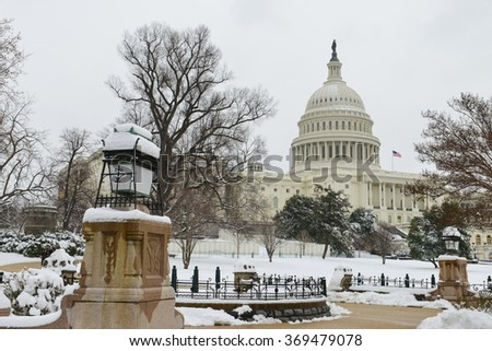 The Capitol in blizzard - Washington DC USA - stock photo