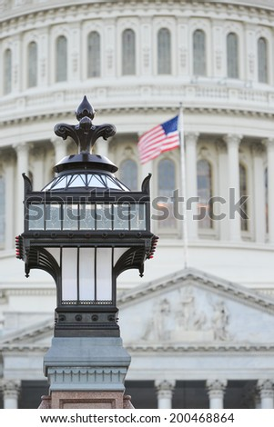 The Capitol - Lamp post details with the dome background - Washington D.C. United States - stock photo