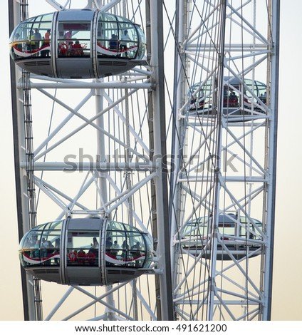The capsules of the London Eye Giant Wheel - LONDON / ENGLAND - SEPTEMBER 15, 2016