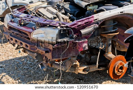 The car accident where the damage was big - stock photo